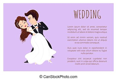 først, dans, bryllup, plakat, par, newlywed, dansende