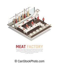 fabrik, isometric, komposition, kød