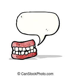 falsk, cartoon, tænder