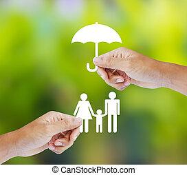 familie, begreb, forsikring