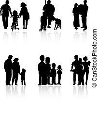 familie, colour., illustration, silhuetter, vektor, sort