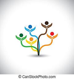 familie, eco, -, concept., træ, vektor, teamwork, ikon