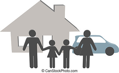 familie, folk, hus, symboler, automobilen, hjem