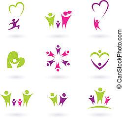 familie, folk, (, p., forbindelsen, ikon, samling, lyserød, grønne