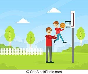 familie, glade, spending, cartoon, søn, illustration, udendørs, basketball, vektor, spille tid, far, sammen