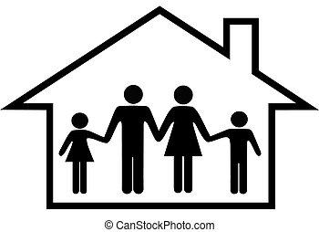 familie, hus, pengeskab, forældre, hjem, børn, glade