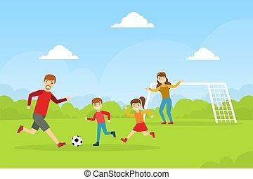 familie, mor, glade, spending, cartoon, søn, illustration, udendørs, soccer, far, datter, vektor, spille tid, sammen