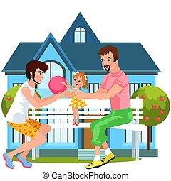 familie, spending, udendørs, sammen, tid, cartoon, glade