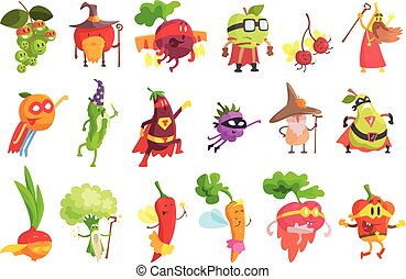 fantastiske, frugt, sæt, grønsag, dumme, bogstaverne
