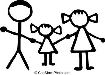 far, datter, familie, -, mor, stickman