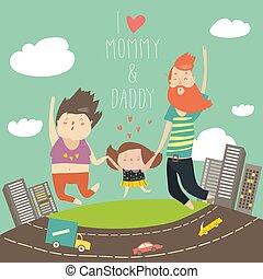 far, datter, holde, familie, spring, mor, hænder, jumping., lykkelige