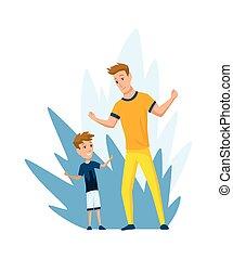 far, tid, aktivitet, udendørs, far, familie, cartoon, glade, søn, lejlighed, vektor, spend, son., illustration., concept., paternitet