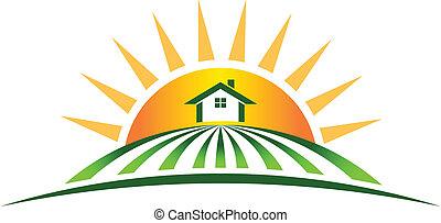 farm hus, sol, logo