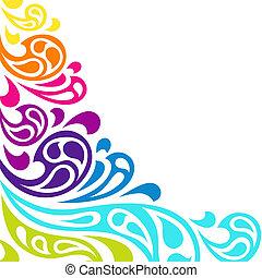 farve, baggrund., abstrakt, plaske, bølger