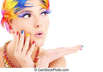 farve, hår, ansigt kvinde