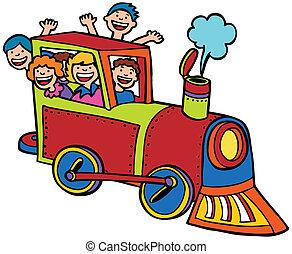 farve, køre, tog, cartoon
