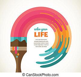 farve, kreative, begreb, ide, konstruktion