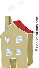 farve, lejlighed, cartoon, illustration, hus