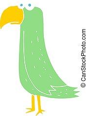 farve, lejlighed, illustration, papegøje, cartoon