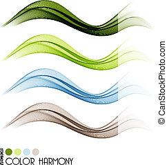 farve, linjer, sæt, kurve