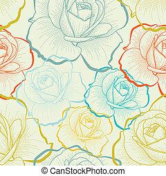 farve, mønster, seamless, hånd, roser, affattelseen