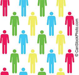 farve, mønster, seamless, person, silhuetter, rød