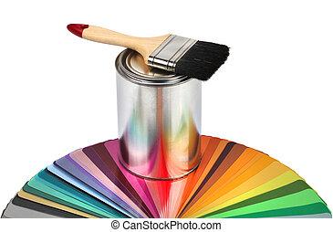 farve, maling børst, udsnit, guide