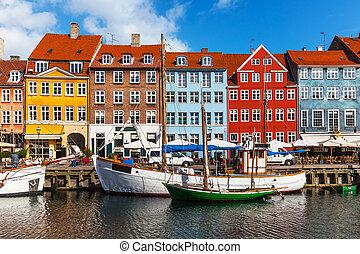 farve, nyhavn, bygninger, danmark, copehnagen