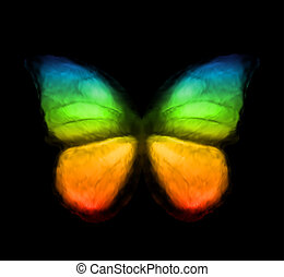 farve, regnbue, vektor, butterfly.