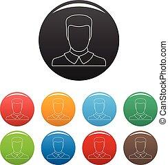farve, sæt, avatar, mand, iconerne