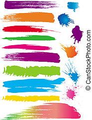 farve, sæt, beklæde, børster