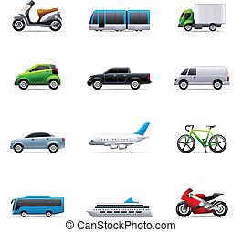 farve, -, transport, iconerne