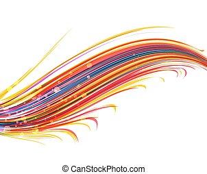 farve, vektor, bølger