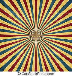 farver, cirkus, sunburst, baggrund