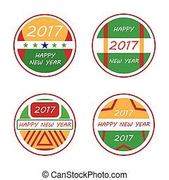farverig, 2017, emblem, glade, nye, sæt, år