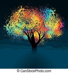 farverig, abstrakt, eps, space., træ., 8, kopi