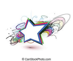 farverig, baggrund, stjerner, abstrakt
