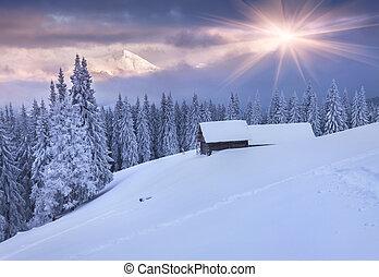 farverig, bjerge., dramatiske, solopgang, vinter, sky.