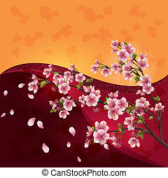 farverig, blomstre, kirsebær, -, japansk, træ, baggrund, klar, vektor, sakura