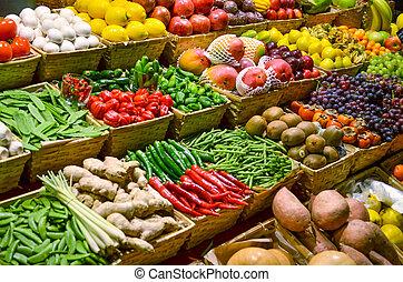 farverig, grønsager, frugt, adskillige, frugter, frisk, marked