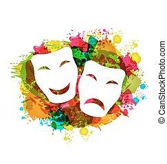 farverig, grunge, masker, karneval, enkel, tragedie, komik