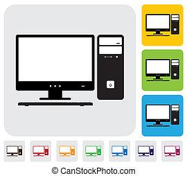 farverig, har, brugbare, enkel, cpu., computer, vektor, og, grønne, desktop, graphic., keyboard-, dokumenter, trykning, skærm, iconerne, baggrunde, appelsin, blå, illustration, blogs, websites, osv.