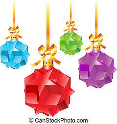 farverig, jul, abstrakt, dekorationer