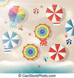 farverig, klar, parasoler, illustration, hav
