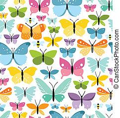 farverig, mønster, seamless, sommerfugle, grund, morskab