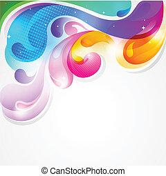 farverig, plaske, abstrakt, maling, vektor, baggrund