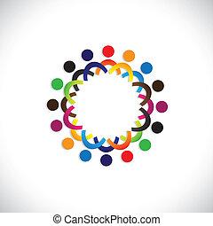 farverig, samfund, begreb, spille, venskab, ansatte, folk, sociale, show, vektor, og, sammenslutninger, diversity, deler, icons(symbols)., børn, arbejder, illustration, graphic-, ligesom, begreb, osv.