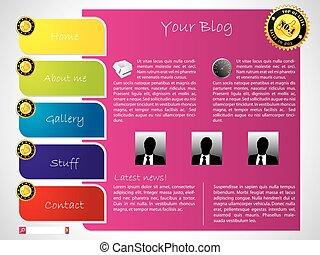 farverig, skabelon, etikette, website, konstruktion