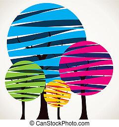 farverig, træ, abstrakt