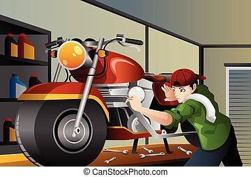 fastlægge, motorcycle, mand